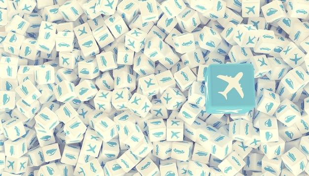 차량, 선박, 비행기, 자동차 및 기차 이미지가있는 많은 흩어져있는 블록