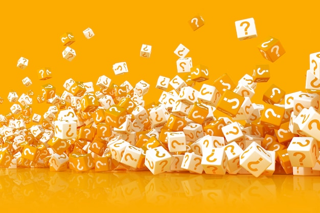 Many scattered cubes with question marks 3d illustration