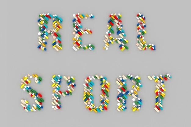 Множество разбросанных таблеток в виде слова «допинг» на сером фоне. 3d иллюстрация