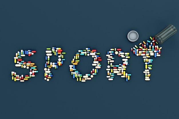 青い背景に「スポーツ」という言葉の形で散らばった丸薬がたくさん。 3dイラスト