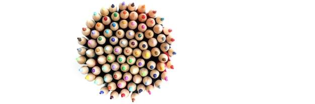 원 평면도 모양의 많은 날카로운 나무 연필