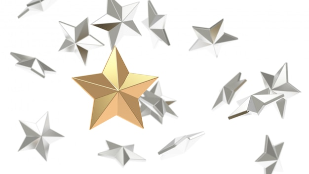 Many silver star background and gold star focus 3d rendering