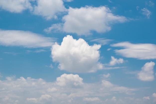 青い空にたくさんの小さな雲。空に浮かぶ白い雲
