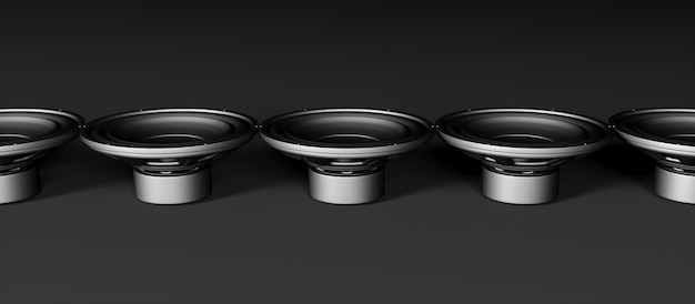 Many speakers on a black background lined up in a line, 3d illustration