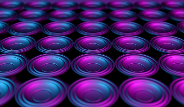 Many speakers on a black background in neon light, 3d illustration