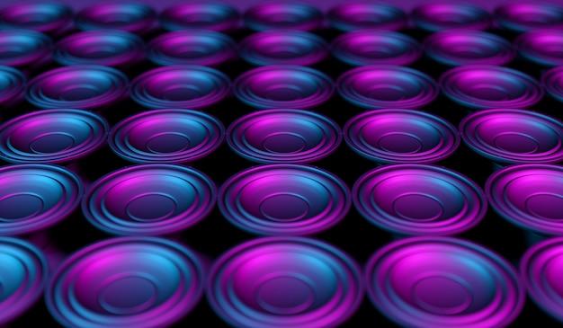 네온 불빛, 3d 일러스트에서 검은 배경에 많은 스피커