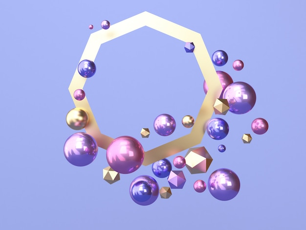 Many sphere pink blue/purple gold frame abstract shape 3d rendering