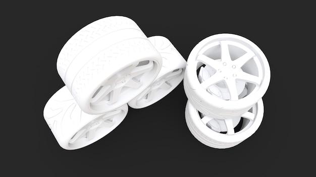 多くのスポーツカーの車輪が一緒に立っています。最小限のスタイルのインストール。 3dレンダリング。