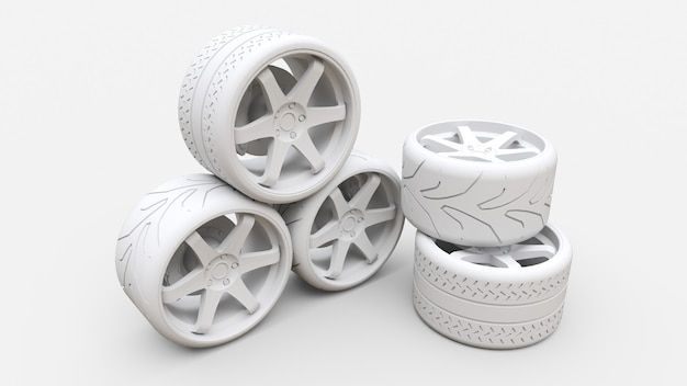 Many sports car wheels standing together. minimal style installation. 3d rendering.