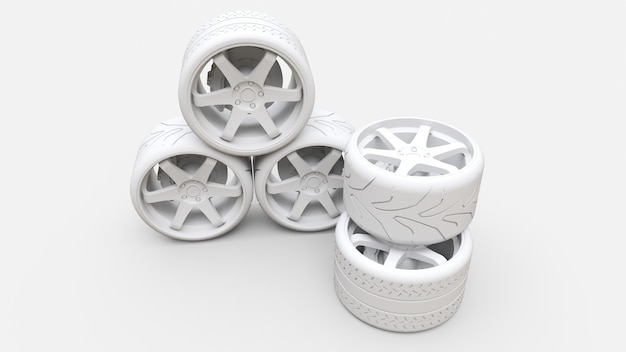 Many sports car wheels standing together. minimal style installation
