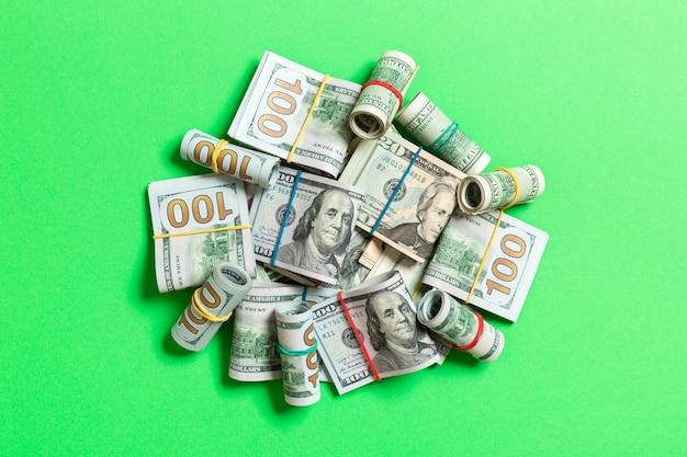 Many stack of 100 dollar bills