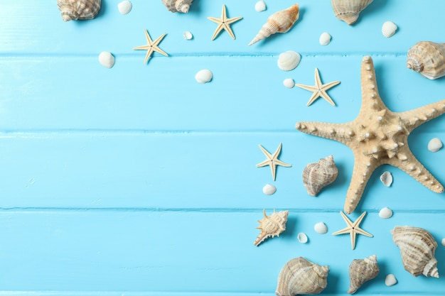 Many starfish and seashells on color wooden background, space for text and top view. summer vacation concept