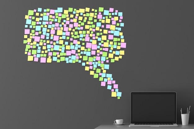 シルエットメッセージアイコン3dイラストの形で壁に貼り付けられた多くのステッカー