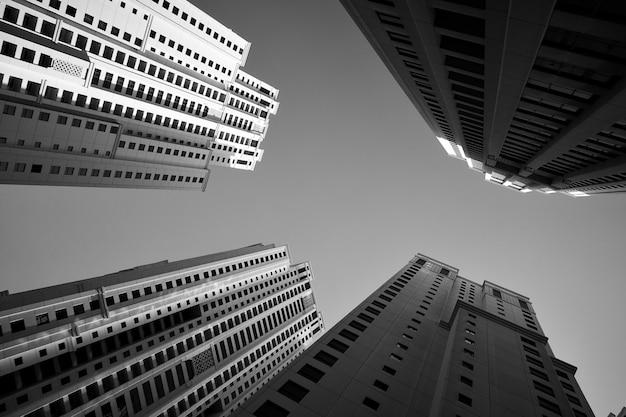다층 아파트 건물. 흑백 건축 사진