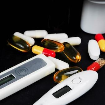 Many tablets in a blister, nasal spray, handkerchiefs of paper