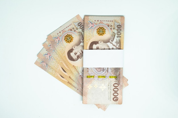 Many of  thai banknote on isolated background
