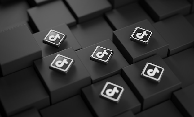 Many tiktok logos on black cubes