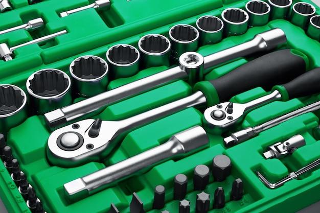 Many tools arranged in tool box