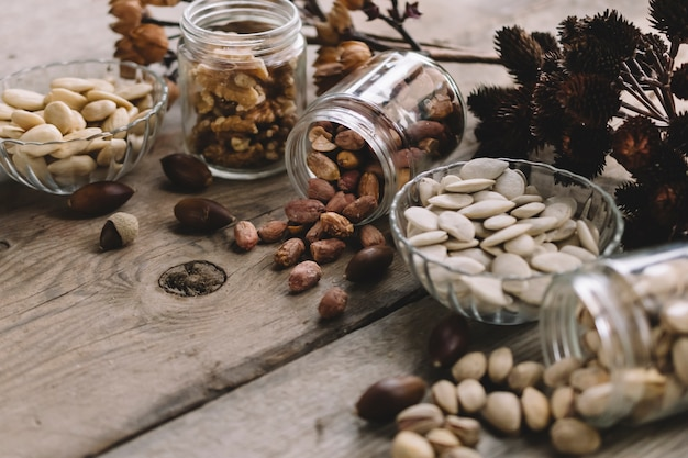 Many types of nuts in glasses