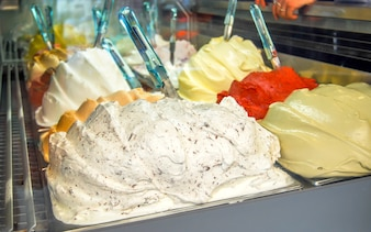 Many types of ice cream in the shopwindow in Italy,