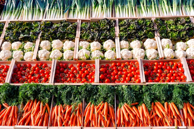 Many vegetables on shelfes in supermarket