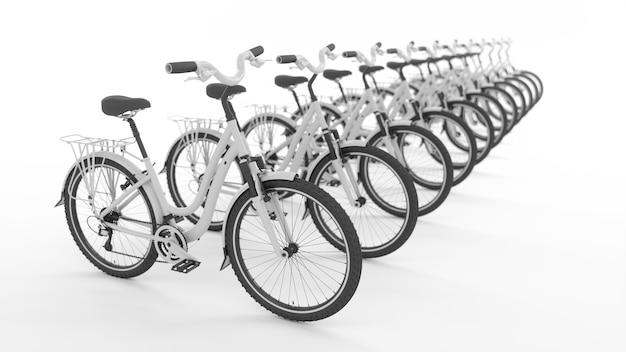 Многие белые велосипеды, стоящие в прямом ряду, 3d иллюстрация