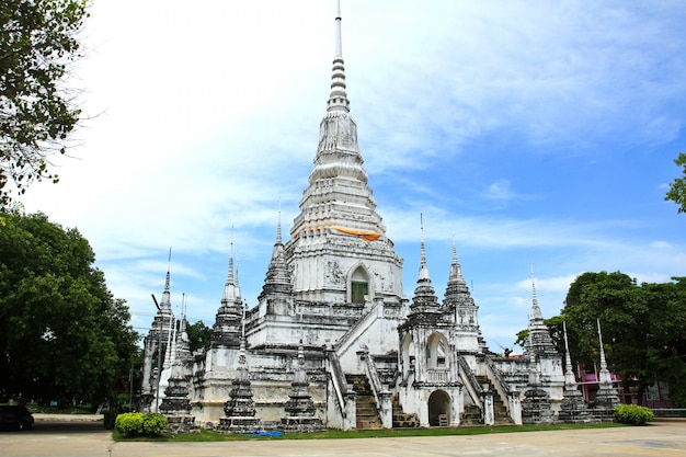 Many white pagoda in thai temple suphanburi province