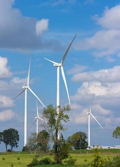 Many wind turbine in meadow.