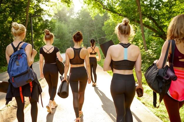 매트, 뒷모습, 여름 공원에서 그룹 요가 훈련을받은 많은 여성. 명상, 야외 운동 수업