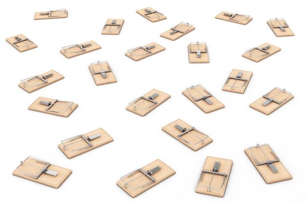 Многие деревянные мышеловки на белом фоне. 3d-рендеринг.