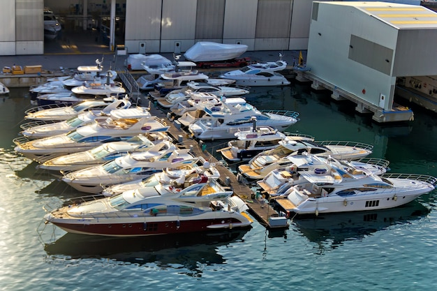 Many yachts at the shipyard of savona