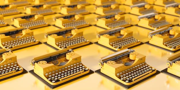 3dイラストの黄色の背景に多くの黄色のレトロなタイプライター