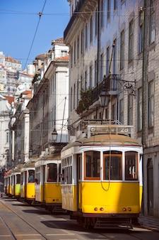 На одной из главных улиц лиссабона припарковано множество желтых трамваев. португалия.