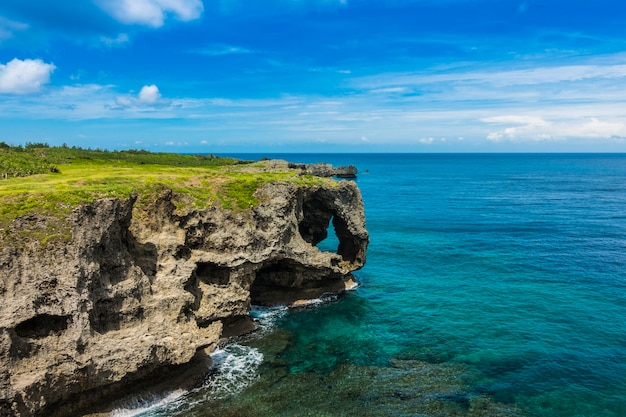 Manzamo cape in okinawa, japan, the famous place for traveling in okinawa, japan