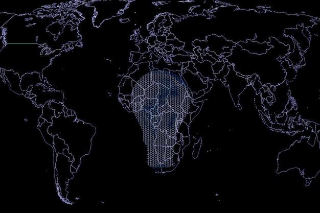 黒の背景に地図と電球の画像。グローバリゼーションの概念。