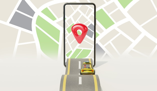 Map application on smartphone and car on the road
