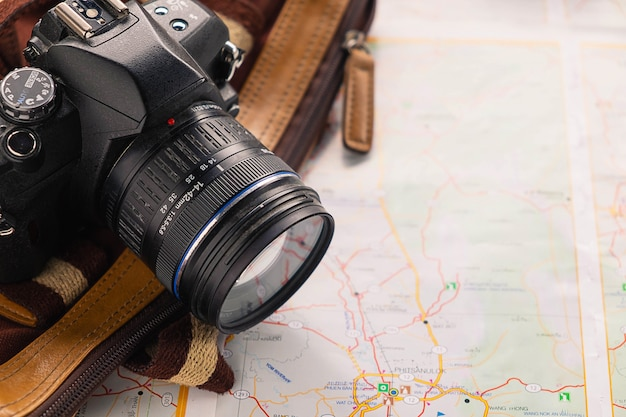 Map and camera with travel planning ideas
