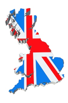 Map of england in england flag colors on a white background