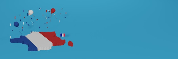 Map of france for social media and website background cover to celebrate national shopping day and national independence day in 3d rendering