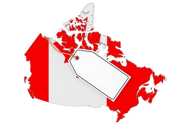 白い背景の上の旗と空白の販売タグとカナダの地図。 3dレンダリング