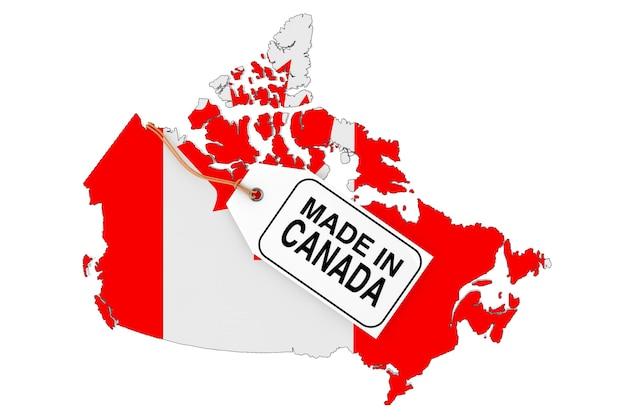 旗と白い背景の上のカナダ製販売タグとカナダの地図。 3dレンダリング