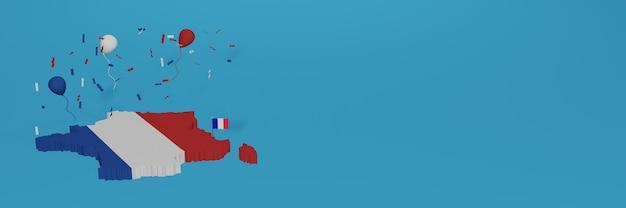 3d 렌더링에서 전국 쇼핑의 날과 독립 기념일을 축하하기 위해 소셜 미디어 및 웹 사이트 배경 표지에 대한 프랑스지도