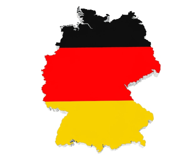 흰색 바탕에 독일 국기 색상에서 독일의 지도