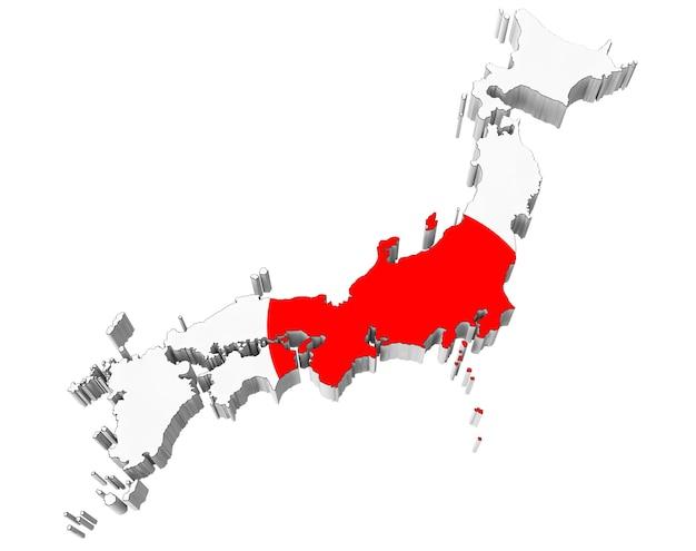 白い背景の上の日本の国旗の色で日本の地図