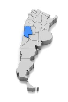 メンドーサ州、アルゼンチンの地図