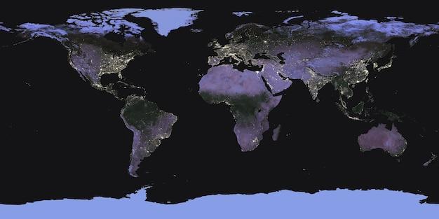 Карта ночной земли из космоса. элементы этого изображения были предоставлены наса. для любых целей.