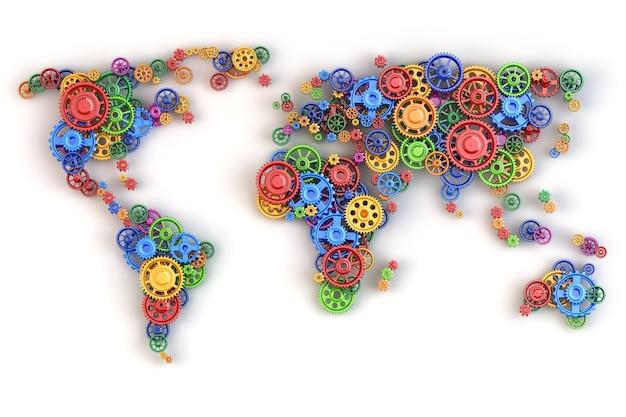 Карта мира из шестеренок. связи глобальной экономики и концепция международного бизнеса. 3d