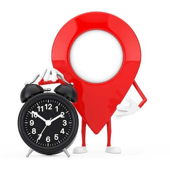 Map pointer pin character mascot with alarm clock on a white background. 3d rendering