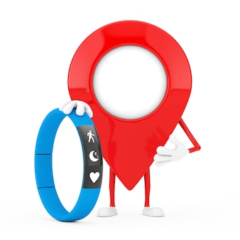 Map pointer pin character mascot with blue fitness tracker on a white background. 3d rendering