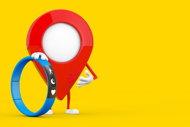 Map pointer pin character mascot with blue fitness tracker on a yellow background. 3d rendering